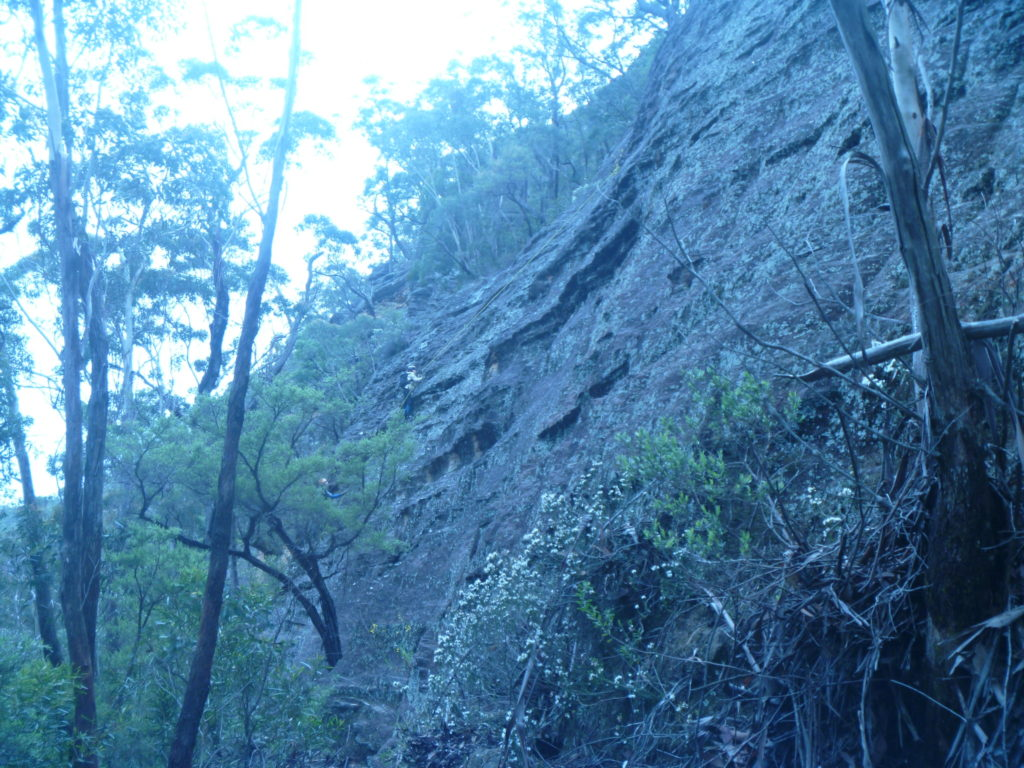 Felix climbed this slab out of Rocky Creek and put a rope down for the rest of the party