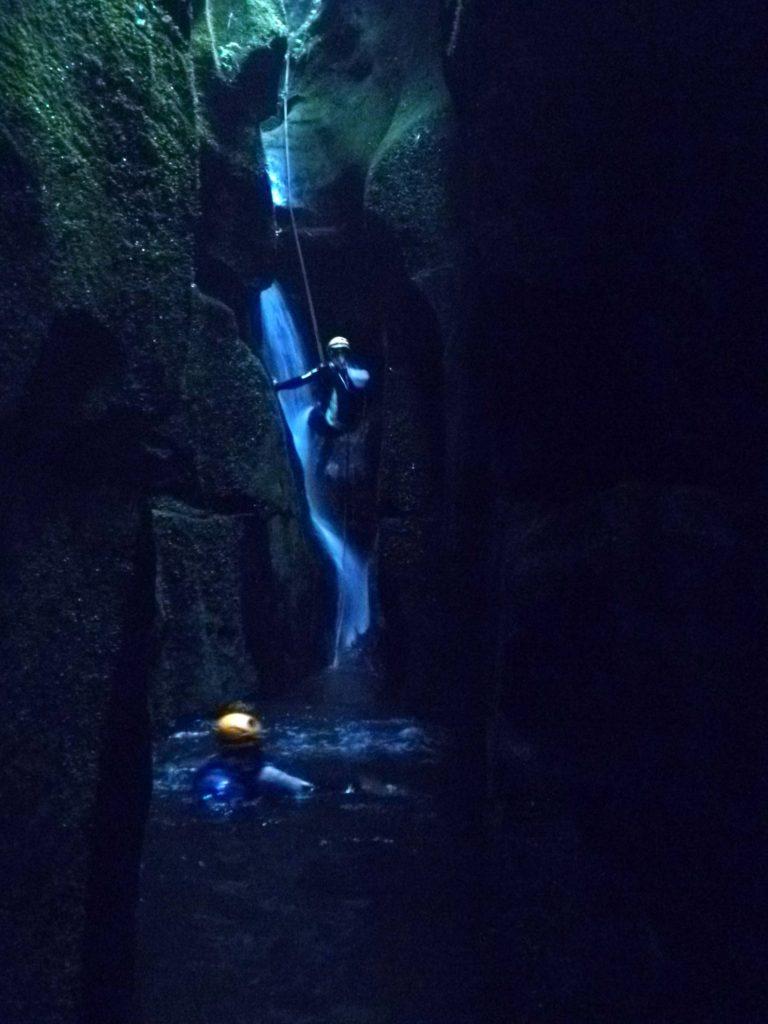 A 6m abseil down a subterranean waterfall
