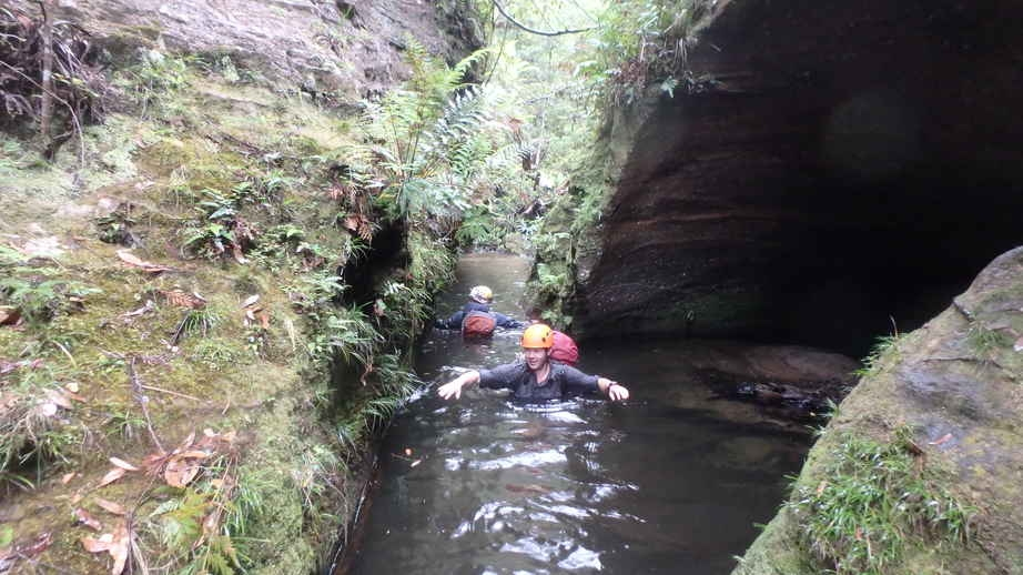 King George Brook wet section - Chris wading and David swiming